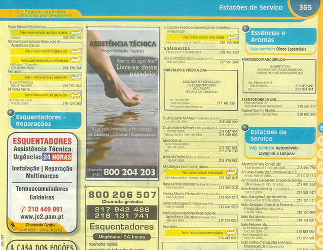 anuncios de video como anuncios de paginas amarelas