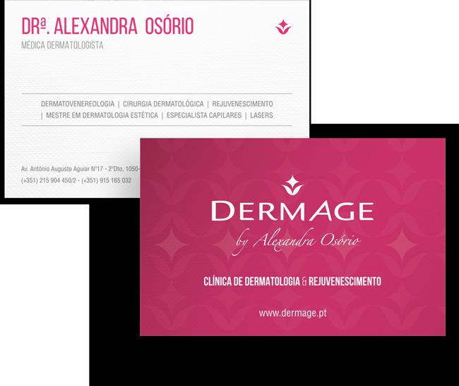 Clínica DermAge Branding - Cartões