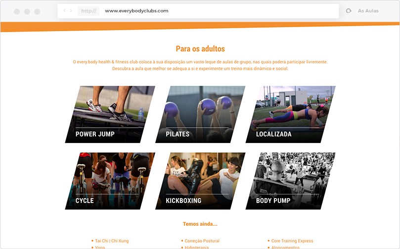 every.body health & fitness club Website - As Aulas