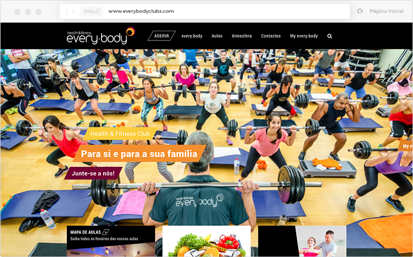 every.body health & fitness club Website - Página Inicial